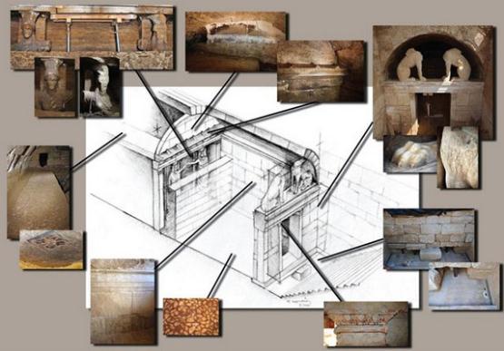 H πρώτη αξονομετρική σχεδιαστική αναπαράσταση του ταφικού μνημείου στην Αμφίπολη