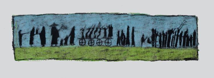 Καζάκη Ιωάννα, Έξοδος, Δίπτυχο, 40x36cm, Λαδοπαστέλ σε χαρτί