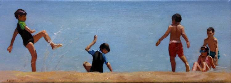 Σεζένια Αφροδίτη, Στην αμμουδιά, 15x40cm, Λάδι σε καμβά