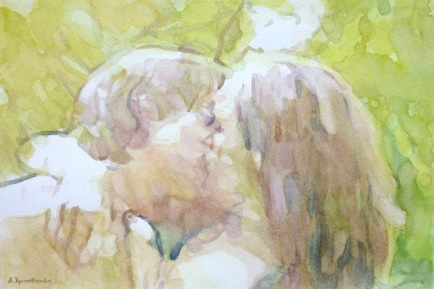 Spontaneous kiss, 30x42cm, Ακουαρέλα