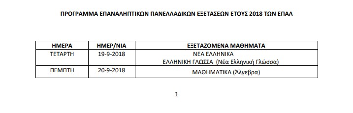Πρόγραμμα των Επαναληπτικών Πανελλαδικών Εξετάσεων ΕΠΑΛ 2018