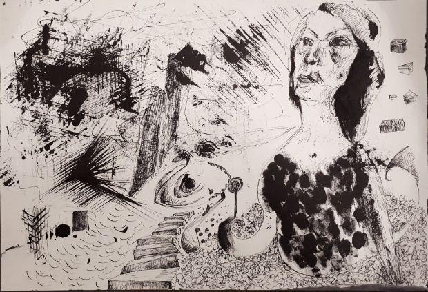 Δραγάτση Λουκία, Ευτέρπη, 30x42cm, Μελάνι σε χαρτί