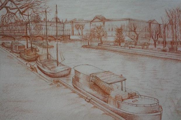 Schnippering Κώστας, Πλωτά όνειρα, 61x41cm, Σανγκινα σε χαρτί (λεπτομέρεια)