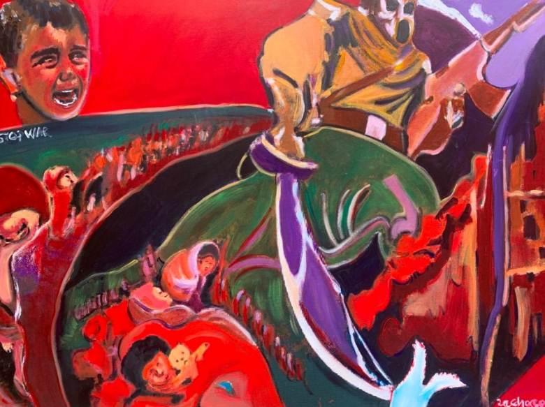Zaxaroula Bongard, Stop War, 50x70cm, Μικτή τεχνική