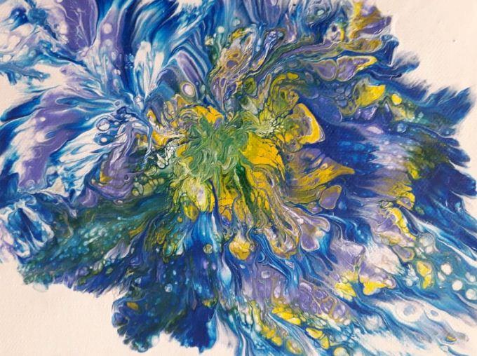 Μαρκέλλα Κομπίτσα, Πολύχρωμο λουλούδι, 18x24cm, Μικτή τεχνική