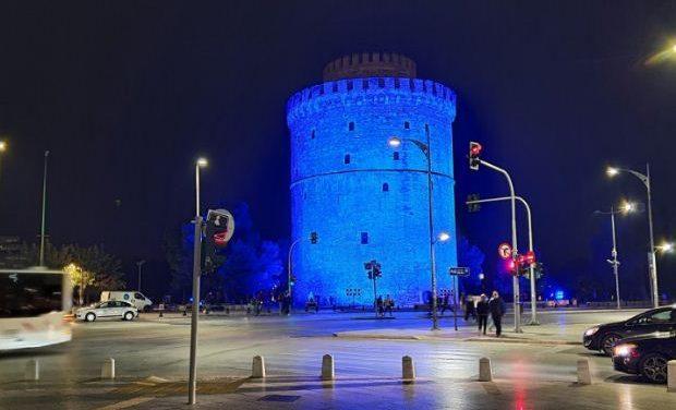 Στα μπλε «ντύθηκε» ο Λευκός Πύργος για την Παγκόσμια Ημέρα Διαβήτη