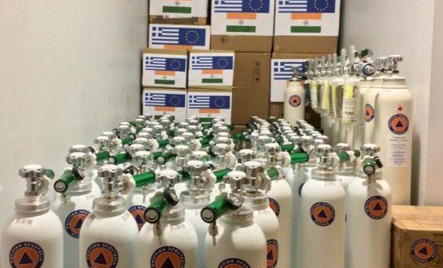 Βοήθεια της χώρας μας στην Ινδία: Έτοιμες προς αποστολή 90 φιάλες οξυγόνου, καθώς και υγειονομικό υλικό